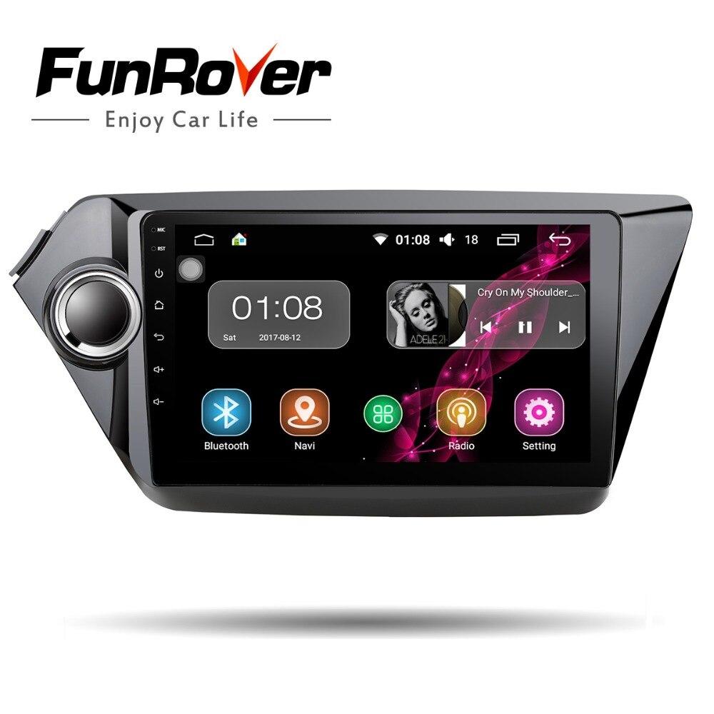 FUNROVER Android 8.0 9 2 din Voiture multimédia lecteur dvd Radio magnétophone pour Kia k2 RIO 2010- 2016 Wifi GPS navigation navi FM