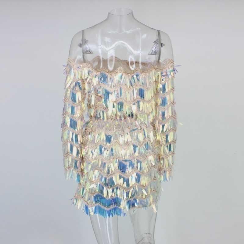 Justchicc נצנצים פרינג 'מיני שמלות ארוך שרוול Bodycon שמלת נשים סקסי Bodycon שמלת המפלגה קריסטל הניצוץ Vestido 2019