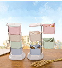 1PC Rotating Jars Wheat Straw Seasoning Jar 4 Grid Rotary Boxes Kitchen Stackable Food Container Spice Box with Spoons OK 0539