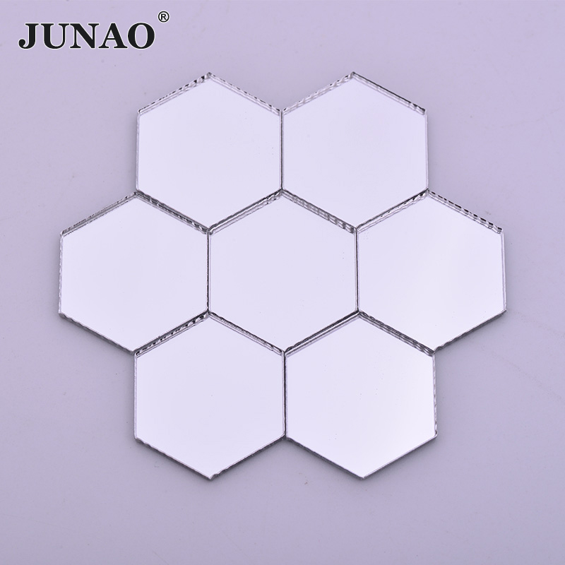 JUNAO Clear Creative Mirror Tiles Mix Size Mosaic Tile Stones Art And Crafts Material DIY Mosaic Making 20pcs