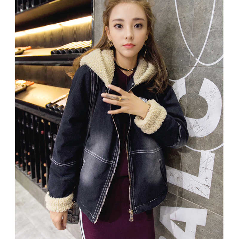 c4f64ba739c ... Вышивка с капюшоном женские большие размеры Модные бурелом ягненка джинсовая  куртка с длинным рукавом свитер теплая ...