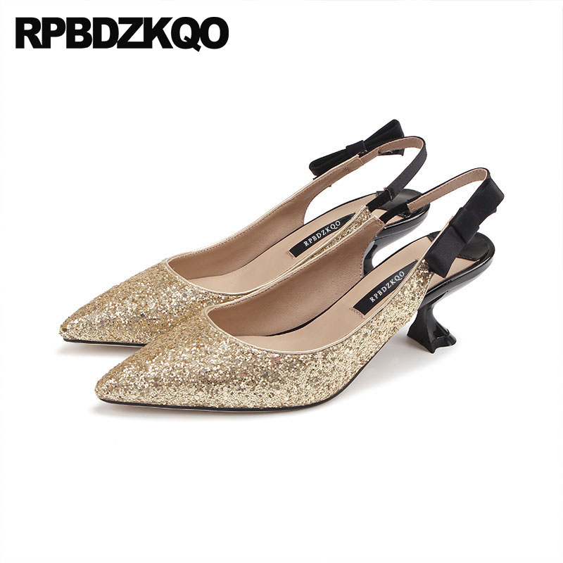 Bling Kitten Size 33 Wedding Slingback Strange Sequin Colourful Gold Pumps Shoes Bridal Women Sandals High Heels Glitter Bow