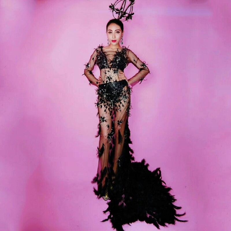 Sexy Black Feather Tail Dress Jazz Dance Costume For Lady Birthday Party Gogo DS Nightclub Bar Dj Singer Dancer Sexy Wear  DJ269