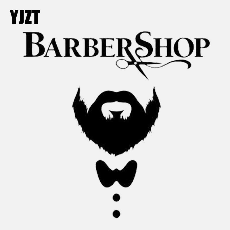 YJZT 13.7CM*13.7CM  Funny Bearded Man Hair Barber Salon Vinyl Black/Silver Car Sticker C22-0279