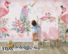 beibehang Customized modern three-dimensional silky papel de pared wallpaper Nordic minimalist pink unicorn background