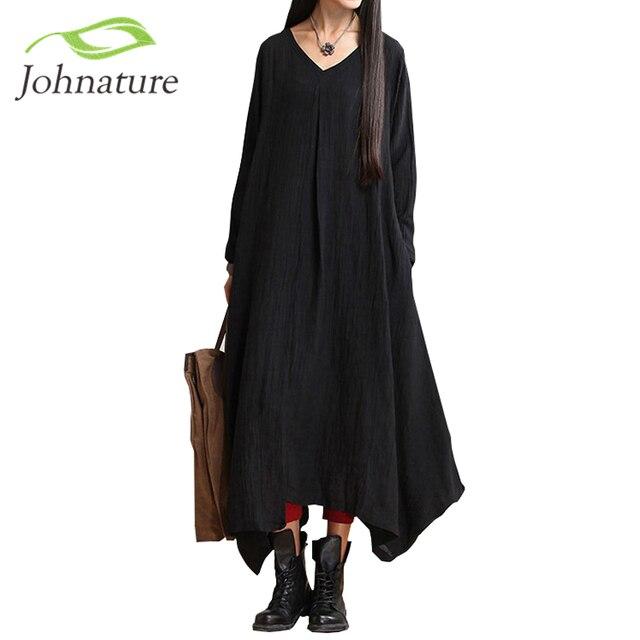 Johnature осень 2017 г. Новый женский, черный Цвет Повседневные платья халат с длинным рукавом V Средства ухода за кожей шеи свободные короткие свободные нерегулярные длинное платье