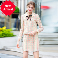 Наивысшее качество ВПП женский 2018 осенью новый лук пальто свободного кроя + короткая юбка модный костюм два комплект из 2 частей Для женщин