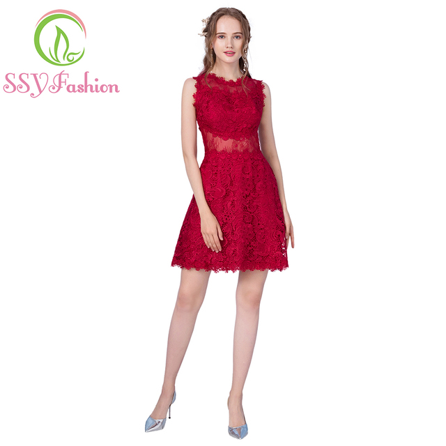 SSYFashion New Arrival Wine Red Lace Short Cocktail Dresses The Bride  Married Banquet Slim Sexy Party Gown Custom Formal Dresses dea562b49cf2