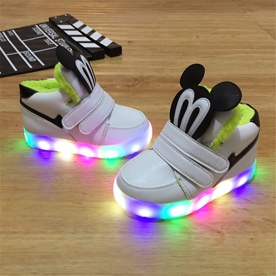 Kids Shoes With Light Chaussure Led Enfant Spring Usb Charge Shoes Tenis Led Feminino Leather Kids Sneakers Lights Boy 50Z0025 2017 heelys boy roller skate sneakers kids shoes with wheel shoe negro zapatillas con ruedas black chaussure led size 16 8 23cm
