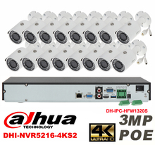 Dahua original 16CH 3MP H2.64 DH-IPC-HFW1320S 16pcs bullet IP security camera POE DAHUA DHI-NVR5216-4KS2 Waterproof camera kit