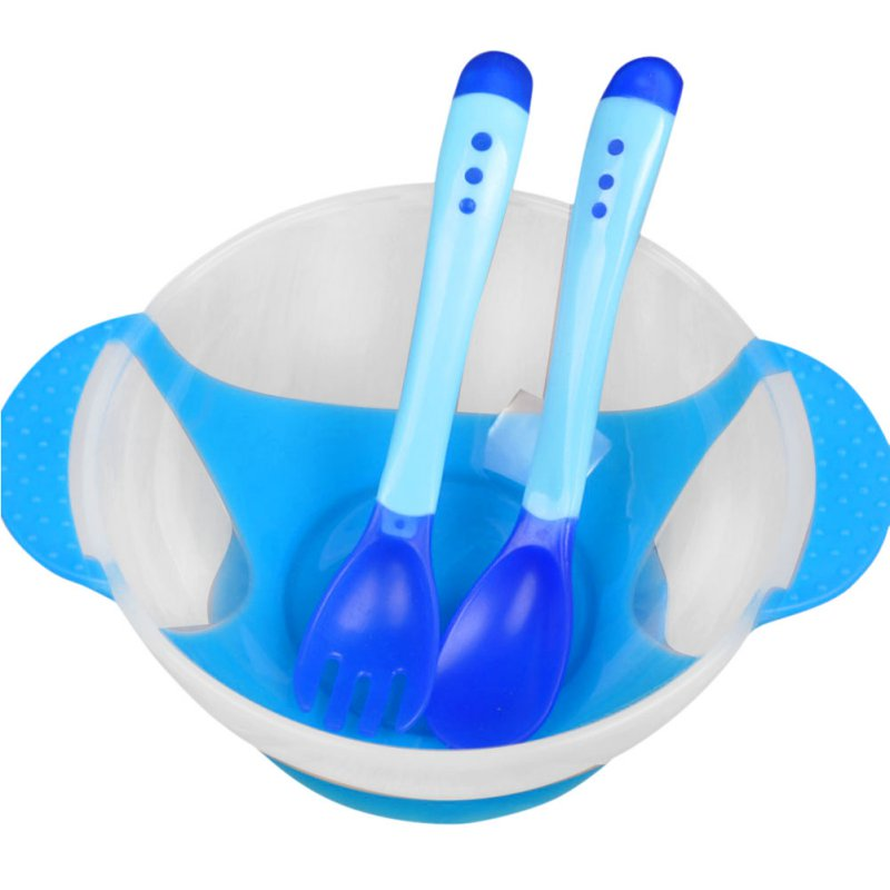 3 Pcs Baby Learnning Dishes With Suction Cup Assist Food Bowl Temperature Sensing Spoon Drop Baby Spoon Bowl Set Baby Tableware