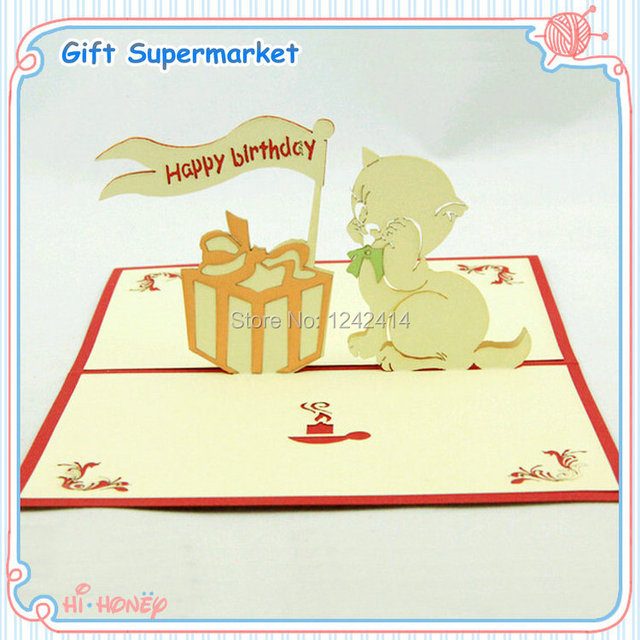 110150mm Happy Birthday Greeting Cards Cat Birthday Cake 3D