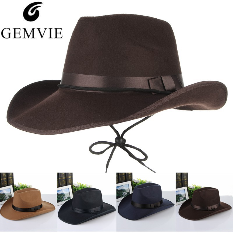 a31094862e5 Detail Feedback Questions about 4 Colors Vintage Western Cowboy Hats For Men  Wide Brim Sun Visor Cap Sombreros Autumn Winter Felt Hat Male Cowboy Caps on  ...