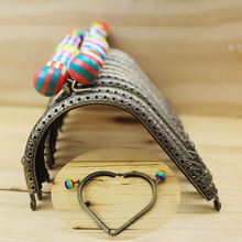 12pieces/lot ,10.5cm Candy Colors Heart shape Metal Purse Frame Handle for Bag Sewing Craft, Coin Purse Frames