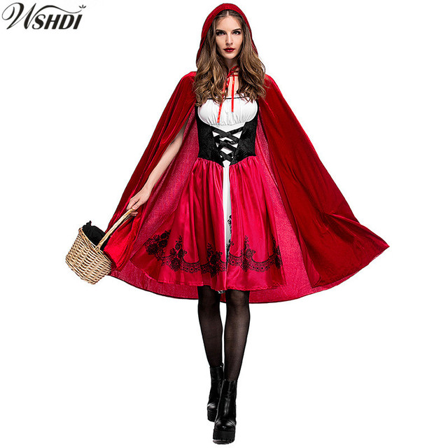 Hot Sale Adult Fairy Tale Little Red Riding Hood Costume Halloween Cosplay  Queen Vampire Fancy Dress adf685c26f04