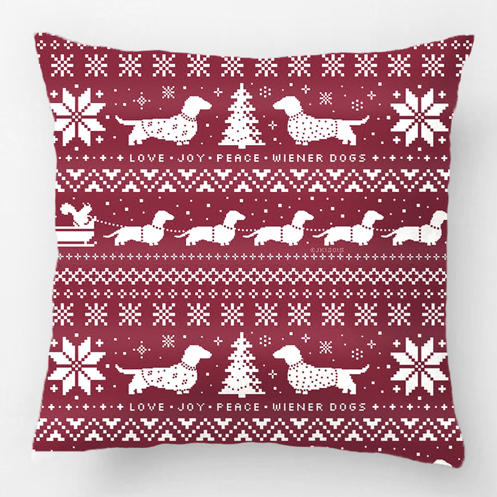 Love Joy Peace Wiener Dogs Christmas Throw Pillow Case
