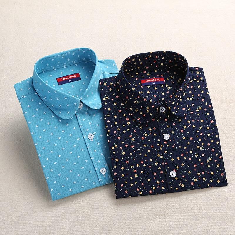 Dioufond Blue Navy Print Blouse გრძელი ყდის მზის ყვავილი პერანგი ქალთა ბამბა ბლუზი პერანგი გამხდარი საყელო ტოტები გაზაფხული 2018 ახალი