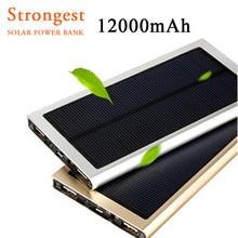 Banco Universal de la Energía Solar 12000 mAh Cargador Solar de Baterías Externas de Metal Ultra Delgado Dual USB Cargador para todos teléfono