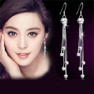 925 Sterling Silver Anting-Anting Korea Panjang Rumbai Bola Anting-Anting Perhiasan Perak Baru Retro Fashion Anting-Anting
