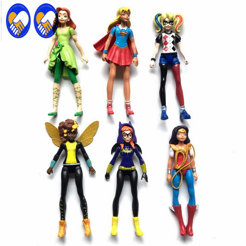 A Toy A Dream 6pcs <font><b>DC</b></font> <font><b>Super</b></font> <font><b>Hero</b></font> <font><b>Girls</b></font> Batgirl Poison Ivy <font><b>Bumble</b></font> <font><b>Bee</b></font> Harley Quinn <font><b>Action</b></font> figure Doll Toy P800
