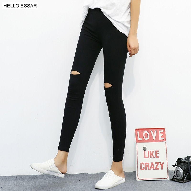 Autumn Broken Holes Women Leggings Korean Version Fashion Outer Wear Show Thin Solid Color Thin Elastic Pencil Leggings L1057