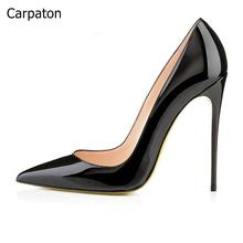 Hot Selling 2017 Women Solid Black Pointed Toe Slip On Shallow Pumps Summer Fashion Super High Heel 12cm Heel Dress Shoes