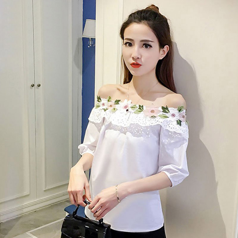 2017 Summer Off Shoulder Top Women Embro