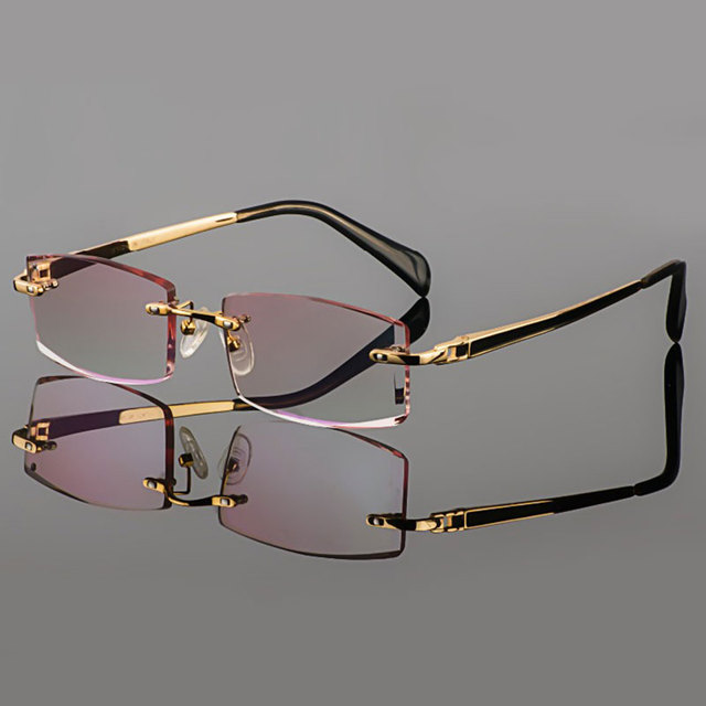 f549ae7e84 2015 Phantom trimming titanium eyewear male model diamond trimming Gold  rimless finished prescription glassses for Men