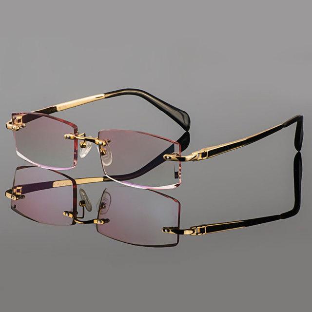 2015 fantasma corte titanium eyewear modelo masculino diamante de corte terminou glassses prescrição sem aro de ouro para homens