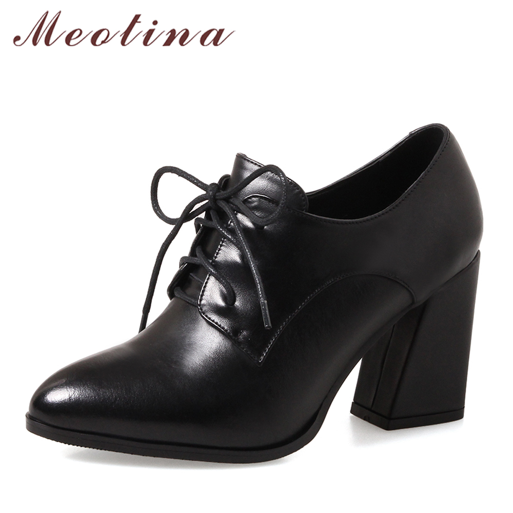 Meotina Genuine Leather Shoes Women Pumps High Heels Lace Up Ladies Shoes Black Spring Suede Thick