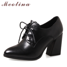 Купить с кэшбэком Meotina Genuine Leather Shoes Women Pumps High Heels Lace Up Ladies Shoes Black Spring Suede Thick High Heels Large Size 33-43