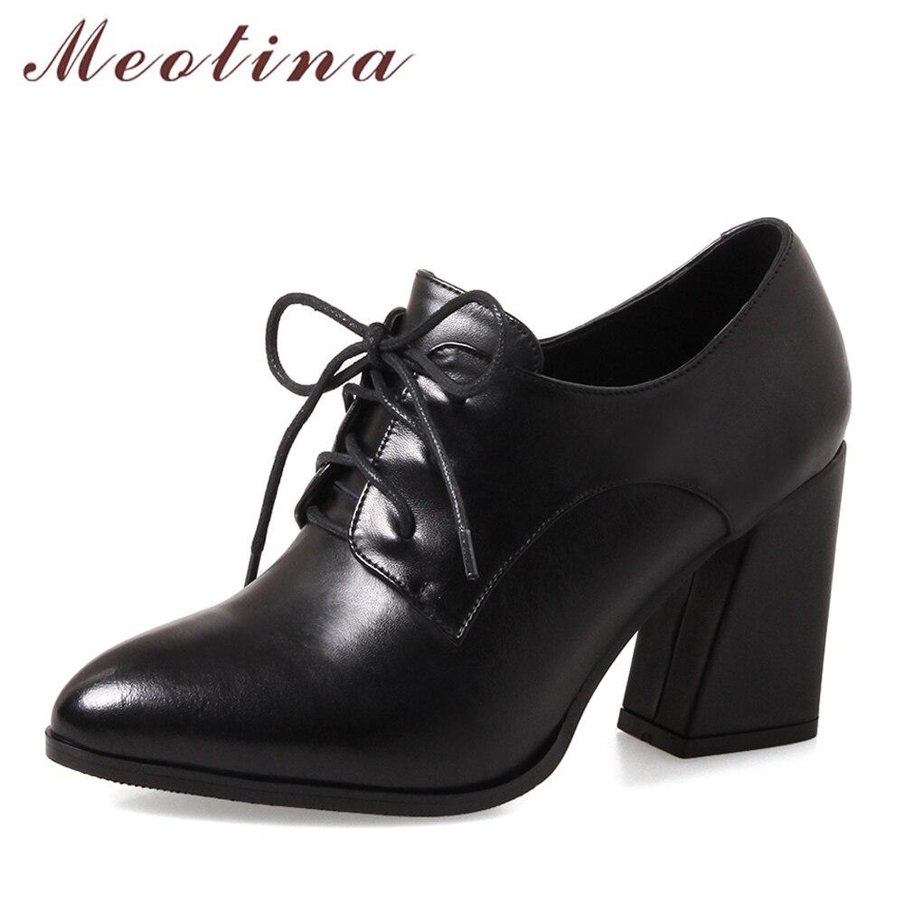 Meotina ของแท้หนังรองเท้าผู้หญิงปั๊มรองเท้าส้นสูง Lace Up สุภาพสตรีรองเท้าสีดำฤดูใบไม้ผลิ Suede รองเท้าส้นสูงหนาขนาดใหญ่ 33 43-ใน รองเท้าส้นสูงสตรี จาก รองเท้า บน AliExpress - 11.11_สิบเอ็ด สิบเอ็ดวันคนโสด 1