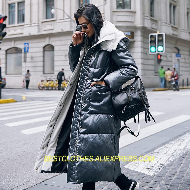 Épaississement Femmes Manteau D'hiver 2018 Nouvelle Mode Longue Outwear Vêtements de Neige Manteau Duvet de Canard Blanc En Laine D'agneau À Capuche Chaud Vers Le Bas Veste g236