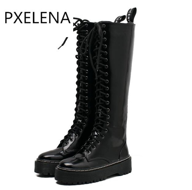 PXELENA Retro Lace Up Knee High Martin Boots Women Shoes Thick Platform  Heels Punk Rock Gothic Military Motorcycle Riding Boots 154aba0dad2c