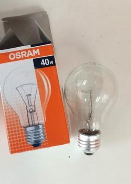 osram 40w e27 clear incandescent lamp 220v 240v line voltage general lighting bulb in light. Black Bedroom Furniture Sets. Home Design Ideas
