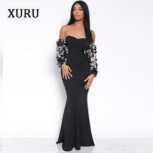 XURU2019 spring womens sequin dress sexy mermaid black wine red elegant ladies dresses