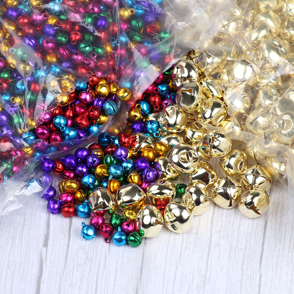 20mm, Golden Color 100pcs Christmas Jingle Bells Small Bell Mini Bells Bulk for Halloween Christmas Wedding Decoration and Jewelry Making