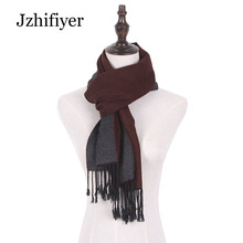 Jzhifiyer european men scarf jacquard cotton male scarf reversible tassel woven shawls inverno two-tone men scarf wool 2017 tassel decor two tone shopper bag