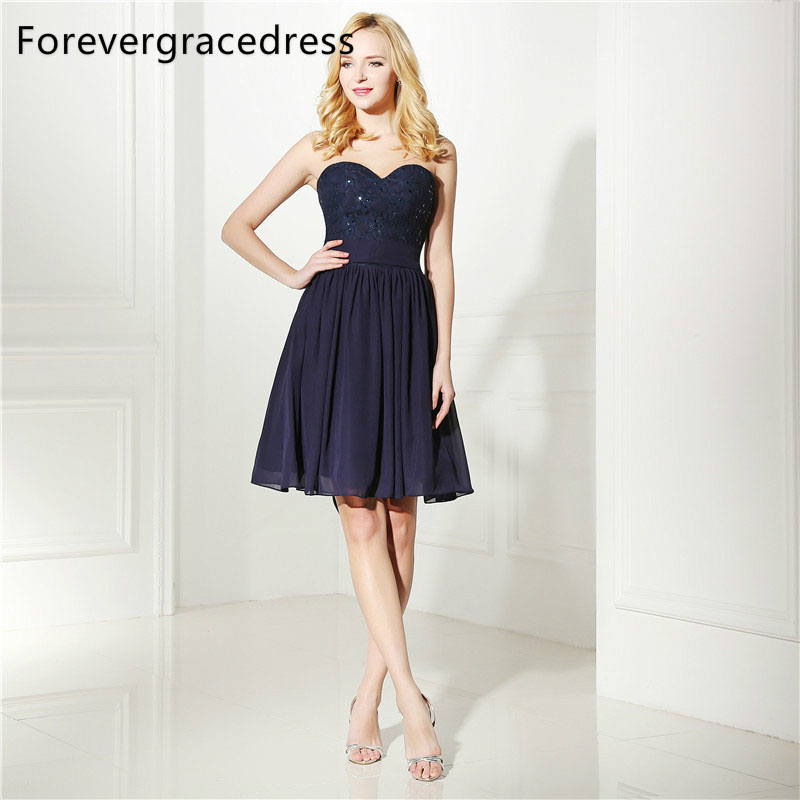 Forevergracedress Real Photos Navy Blue   Cocktail     Dress   Sexy Chiffon Knee Length Short Homecoming Party Gown Plus Size