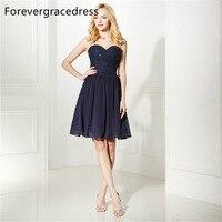 Forevergracedress real fotos azul marino vestido de cóctel sexy gasa longitud de la rodilla corto del regreso al hogar del vestido del partido más tamaño