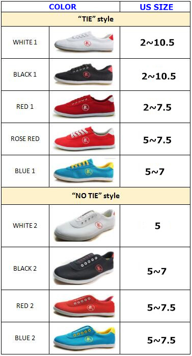 tai chi shoes size_