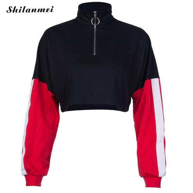 a93d048e12 New Full Sleeve White Red Striped Patchwork Sweatshirt Women High Neck  Zipper Crop Top 2018 Autumn