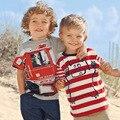 O envio gratuito de 2016 Primavera Verão 100% Algodão de Manga Curta T-shirt Roupas para Crianças Camisetas Crianças Da Menina do Menino Dos Desenhos Animados ônibus Vermelho 362