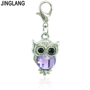Image 4 - JINGLANG Wholesale Price Owl Lobster Clasp Charms Plastic Crystal Animal Pendants DIY Charms For Jewelry Making Accessories