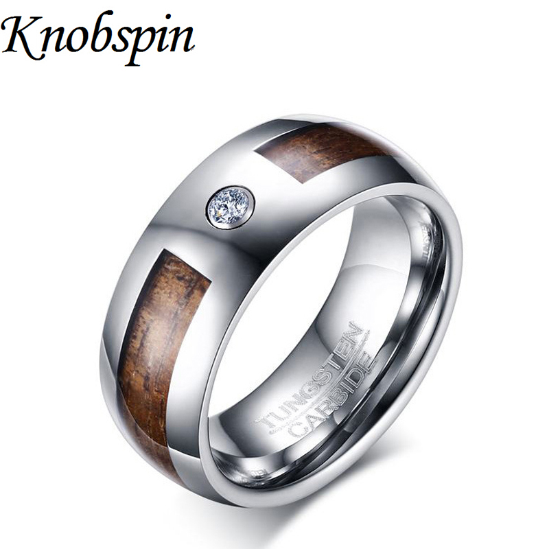 fashion tungsten ring men trendy wedding band jewelry for men with white rhinestone us size 7 - Customized Wedding Rings