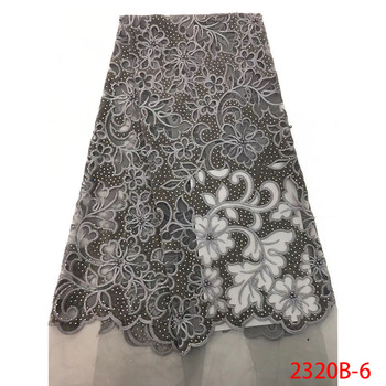 Newest Arrival Black Fabric With Stones 5 Yards French Net Lace Fabric For Wedding Nice Embroidery African Lace Fabric GD2320B-2 фото