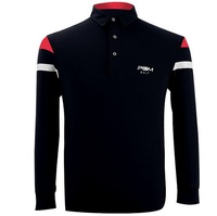 Mens Golf camiseta solapa clásico Barras paralelas decorativo exterior de manga larga fitness Sport camiseta Bádminton Ping Pong camisa