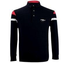 Męskie Golf T Shirt Klasyczny Lapel Równoległe Paski Dekoracyjne Z Długim rękawem Outdoor Fitness Sport T Koszula Badminton Tenis Stołowy koszula