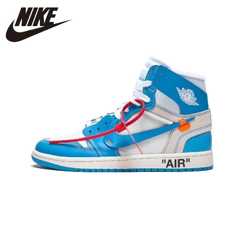 Nike Air Jordan 1 x blanc cassé homme chaussures de skate nouveauté Sports de plein Air baskets # AQ0818-148