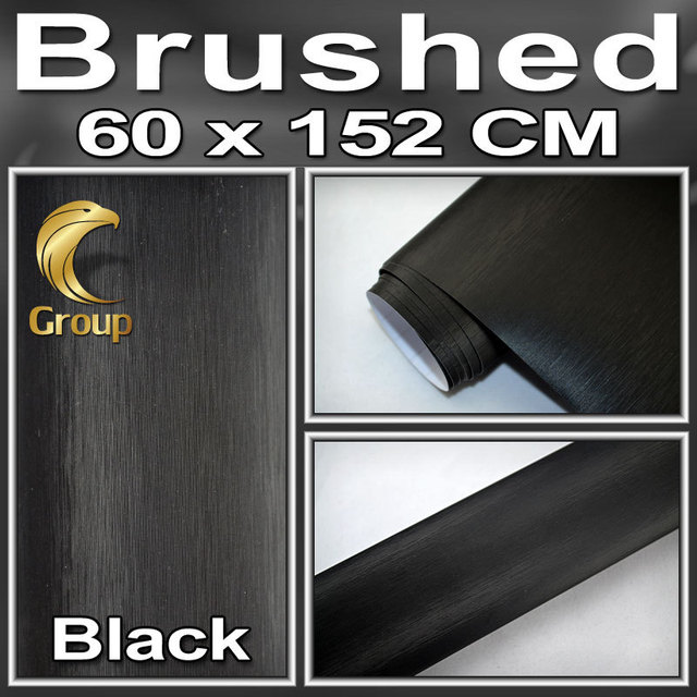 BLACK Metallic BRUSHED ALUMINUM Vehicle Wrap Vinyl Film Car Sticker / Air Channel best Car Styling  Size:1.52x0.6m